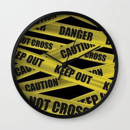 Caution Tape Wall Clock