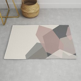 Rose Quartz Crystal #1 Blush Pink and Charcoal Graphite Gray Abstract Geometric Rug