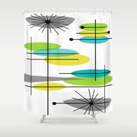mid century modern Shower Curtains featuring Mid-Century Modern Atomic Design by Kippygirl