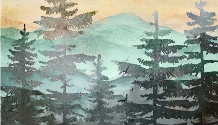 Pine Trees Pillow Sham