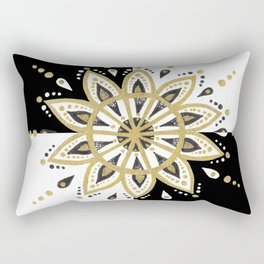 Black & Gold Mandala Geometric Design Rectangular Pillow