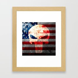 Skull and American Flag on Distressed Metal Framed Art Print