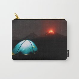Illuminated tourist tent at night on background of erupting Klyuchevskaya Sopka Carry-All Pouch