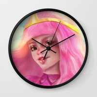 princess bubblegum Wall Clocks featuring Princess Bubblegum by ChrySsV