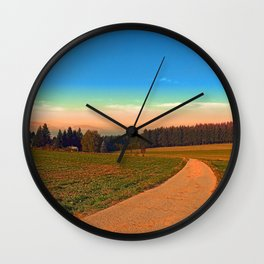 Hiking into the sunset | landscape photography Wall Clock