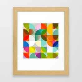 mid century geometry vibrant colors Framed Art Print