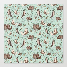 Cute Sea Otters Canvas Print
