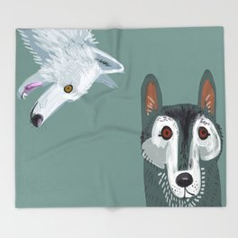 Totem Canadian wolf 2 Throw Blanket