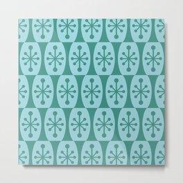 Mid Century Modern Atomic Fusion Pattern 335 Green and Blue Metal Print