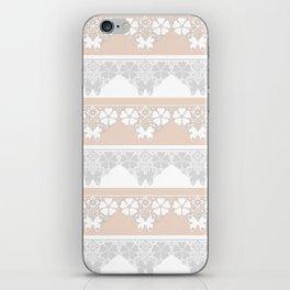 Peach-colored lace . iPhone Skin