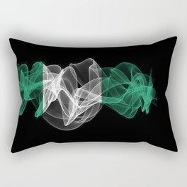 Nigeria Smoke Flag on Black Background, Nigeria flag Rectangular Pillow