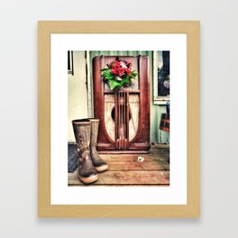 Northwest Junk Art Nature Punk Fisherman Boots Vintage Radio Flowers Grunge Framed Art Print