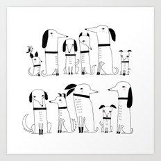 ELEVEN DOGS ONE BIRD Art Print