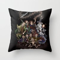aragorn Throw Pillows featuring The Happy Fellowship by Ginger Opal