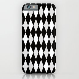 Harlequin Black and White and Gray iPhone Case