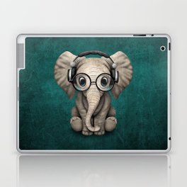 Cute Baby Elephant Dj Wearing Headphones and Glasses on Blue Laptop & iPad Skin