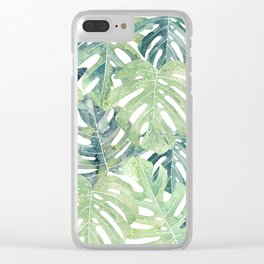 Tropical Leaves Monstera leaves Jungle leaves Clear iPhone Case
