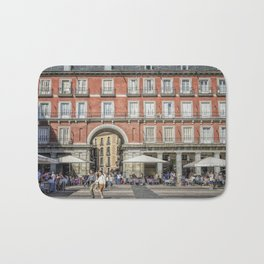 Relaxing cup in Plaza Mayor, Madrid Bath Mat