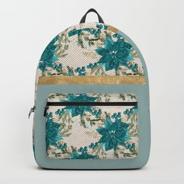 Teal Christmas Poinsettia Backpack