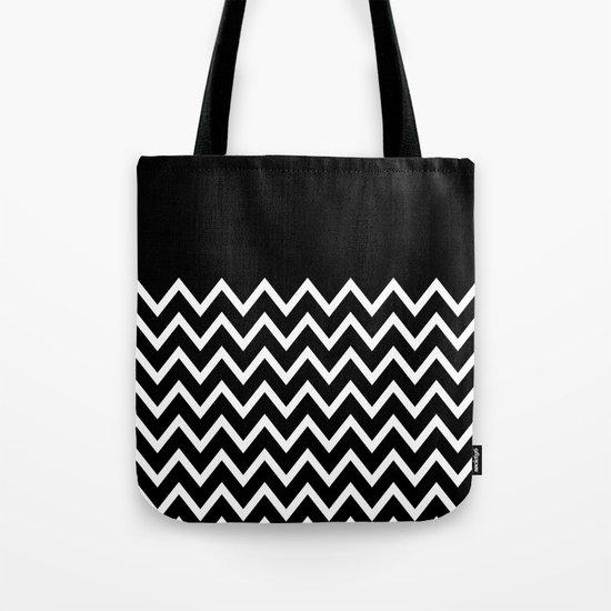 White Chevron On Black Tote Bag
