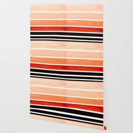 Burnt Sienna Minimalist Mid Century Modern Color Fields Ombre Watercolor Staggered Squares Wallpaper
