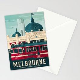 MELBOURNE AUSTRALIA Retro Travel Poster City Illustration Stationery Cards