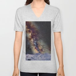 The star Antares, Scorpius and Sagitariuss over the hight mountains. The milky way. Unisex V-Neck