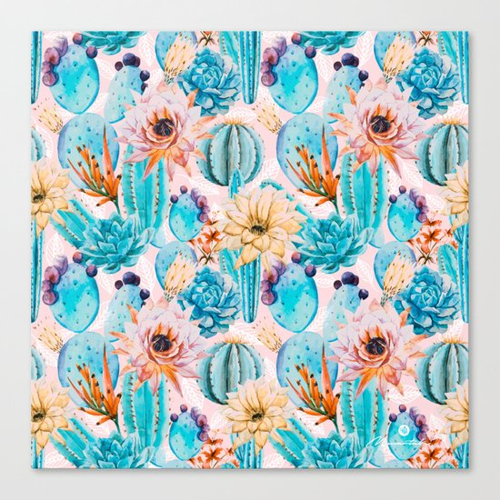 Cactus and flowers pattern Canvas Print