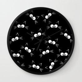 Cute Black Cat Pattern Wall Clock