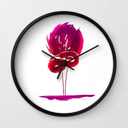 Fluorescent pink flamingo Wall Clock