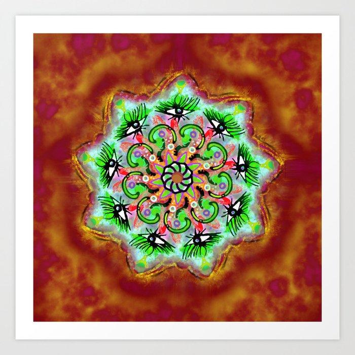 Spider Eye Mandala - Red BG Art Print