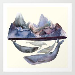 Whales Swiming under the Moutains Art Print