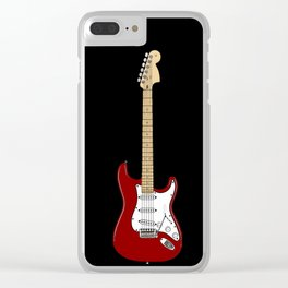 Red Stratocaster drawing (Black Edit) Clear iPhone Case