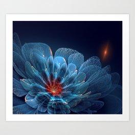 3D Blue Flower V2 Art Print
