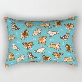 shibas in blue Rectangular Pillow