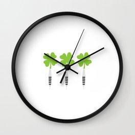 Darts Saint Hat Tricks St Patrick Shamrock Wall Clock