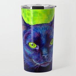 Black Cat with Chartreuse Eyes Travel Mug