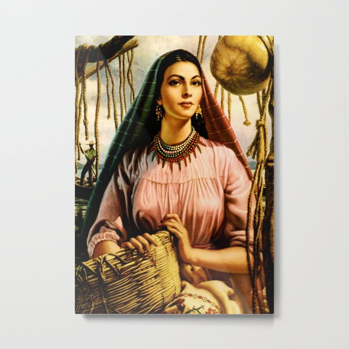 Jesus Helguera Painting of a Mexican Fisher Girl With Basket Metal Print