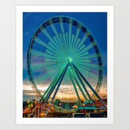 The Colorful Branson 76 Strip Ferris Wheel at Dusk Art Print