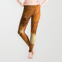 Burnt Orange Texas Longhorn Animal Print Leather Pattern Leggings
