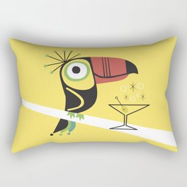 Swank Mid Century Modern Toucan Tiki Bird With Martini Rectangular Pillow