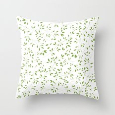 Leaves Pattern in Green & White Throw Pillow