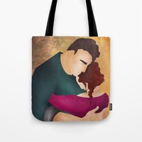 hug Tote Bags featuring Hug by Slavena Peneva