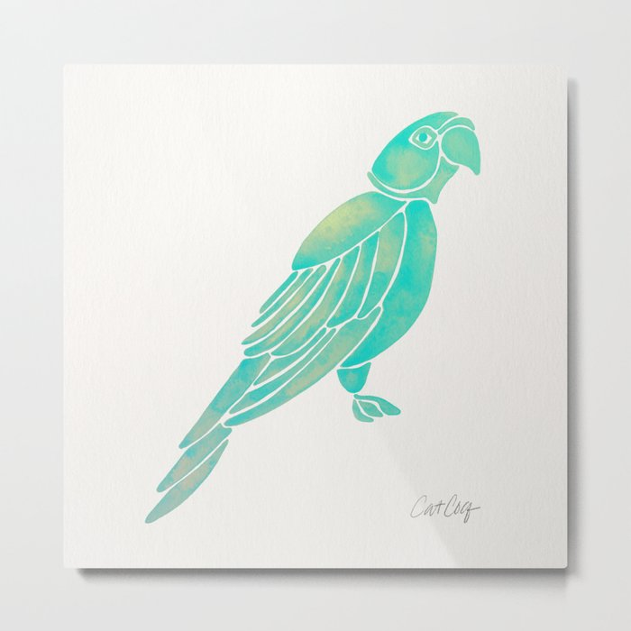 Perched Parrot – Mint Palette Metal Print