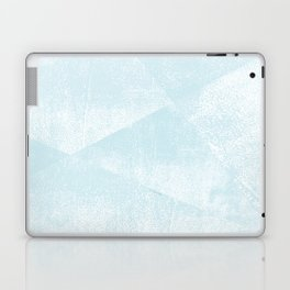 Light Blue and White Geometric Triangles Lino-Textured Print Laptop & iPad Skin