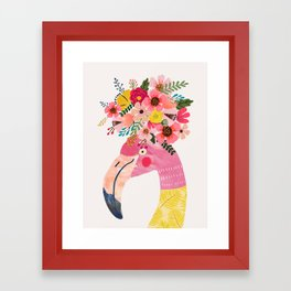 Pink flamingo with flowers on head Framed Art Print