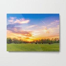 Sunset Herd Metal Print