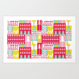 Festive Christmas Collage Art Print