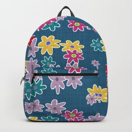 Whimsical Floral Pattern in Blue, Purple, Yellow, Pink Backpack