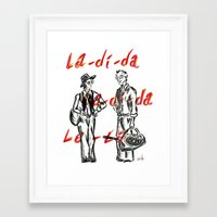 annie hall Framed Art Prints featuring ANNIE HALL pen drawing by The Exiled Elite